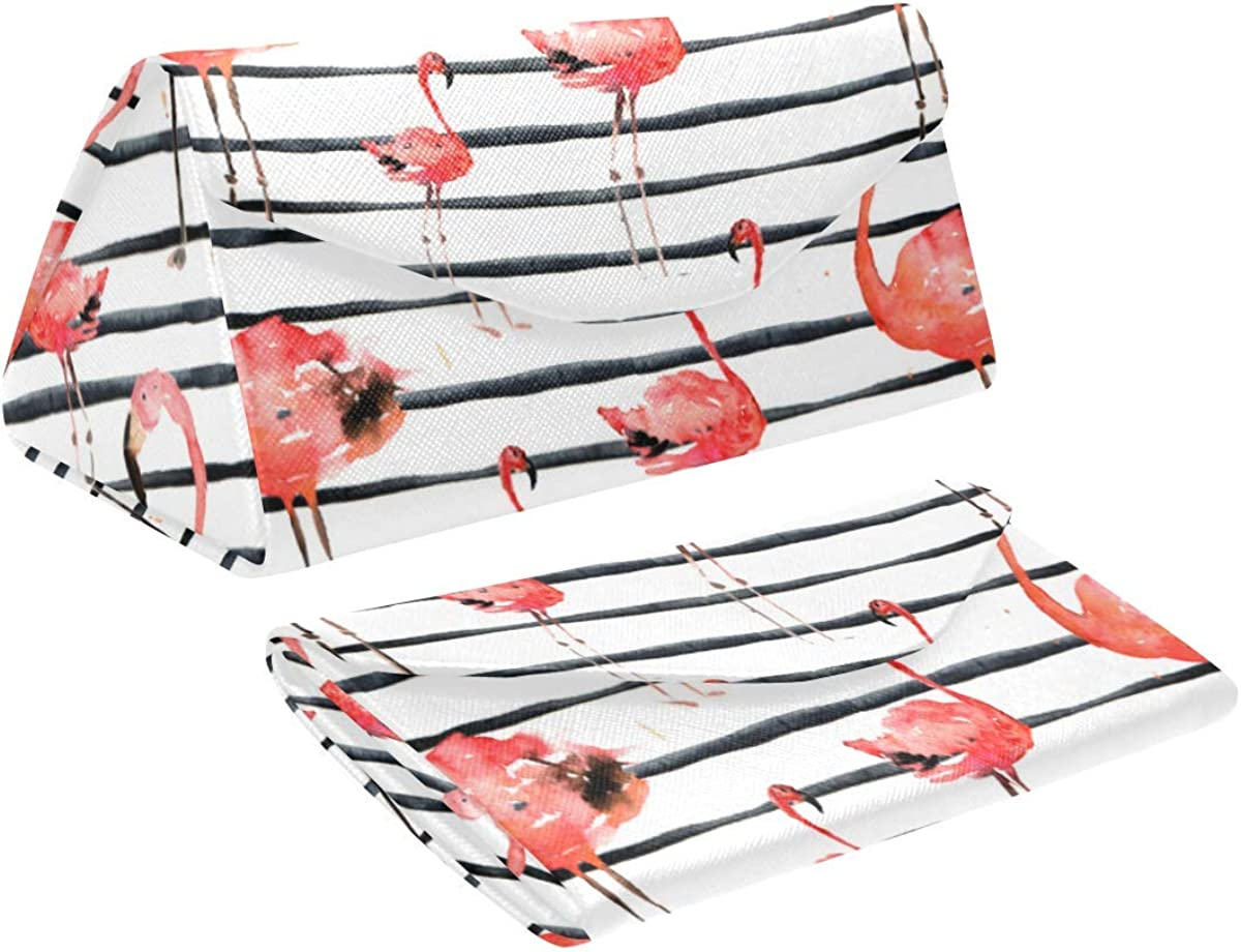 Eyeglass Cases Custom Flamingo stripes Painted Hard Shell Foldable Portable Glasses Case