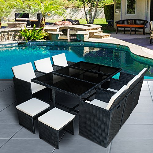 Panana 10 Seater Rattan Garden Furniture Set Dining Table and Chairs Stools Set Outdoor Patio and Conservatory Black