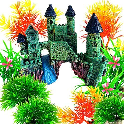 OrgMemory Ornamente für Aquarien, Aquarium Deko, Fisch Tank Dekoration mit Pflanzen
