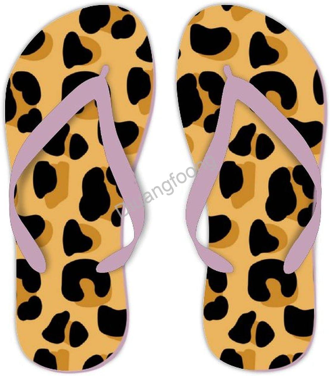 Leopard Flip Flop Beach Unique Thong Sandals Eva Sandal For Home Bathroom Party Pink Style8