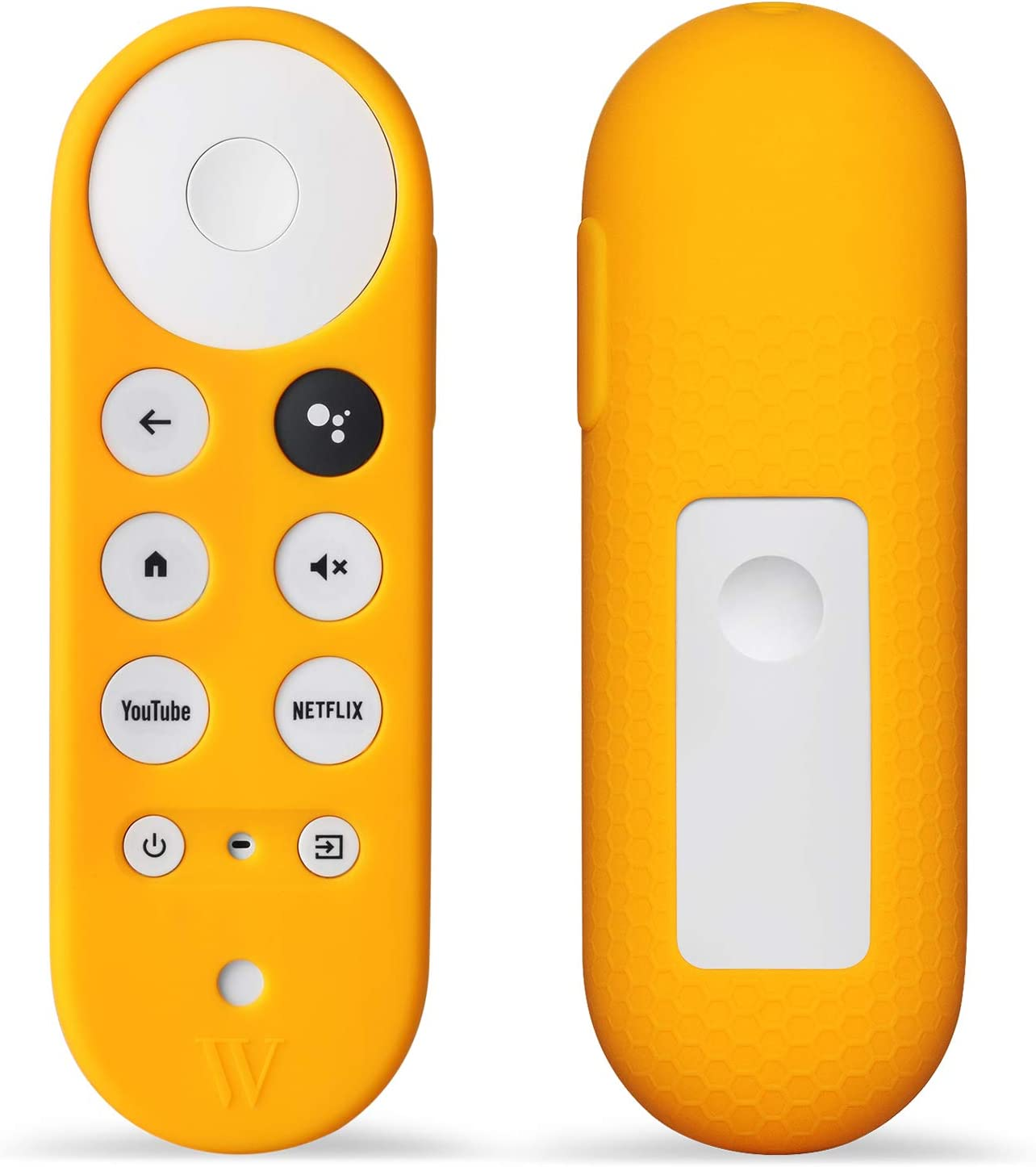 Wasserstein Silicone Skin Compatible with Chromecast with Google TV Remote Control - Protective Cover for Your Remote Control (Yellow)