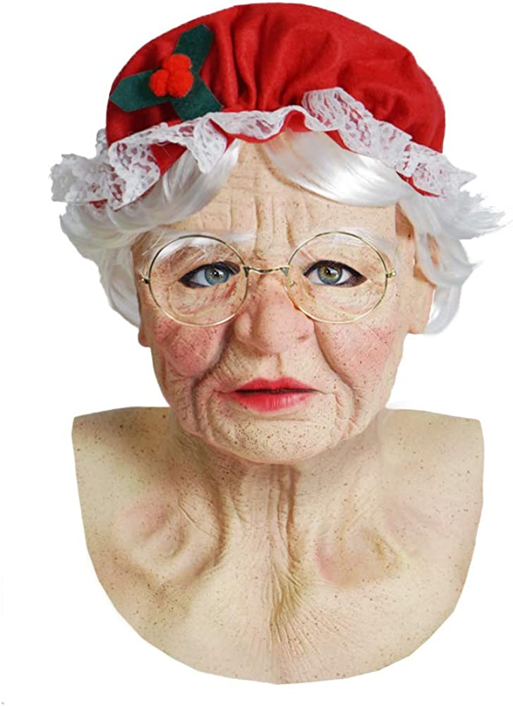 ReneeCho Women Mrs Large-scale sale Santa Claus Mask Christmas Costume Max 79% OFF Lady Old