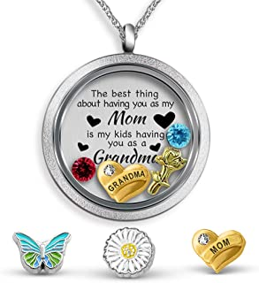 Generations Necklace For Grandma Gifts for Mom Necklace Mother Daughter Necklace Floating Charm Locket Pendant Necklace for Grandma