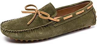 LFSP Mens Penny Loafers Boat Shoes Driving Loafer for Men Boat Moccasins Slip On Style Suede Leather Delicate Butterfly Lace British Style A (Color : Army Green, Size : 38 EU)