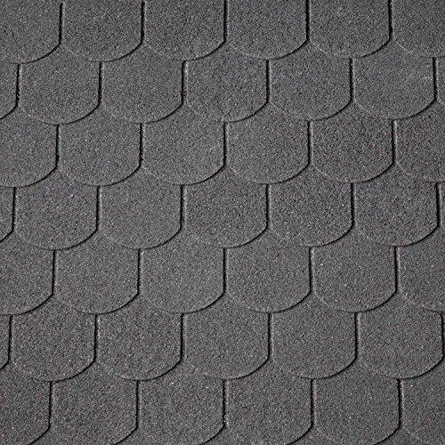 Dachschindeln Biberschwanz 3 m² mit Glasvlieseinlage Bitumenschindeln Schindeln Biberschwanzschindeln (Schwarz)