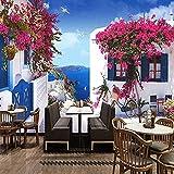 Fotomurales Mediterranean Seascape Rose Photo Mural Wallpaper 3D Cafe Restaurant Romantic Backdrop Wall Home Decor Seda 350X256Cm