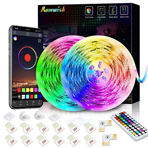 Tiras LED 10M, Romwish 5050 SMD RGB 300 LEDs con Control Remoto RF de 44 Botones & Control Bluetooth,para la Habitación,...