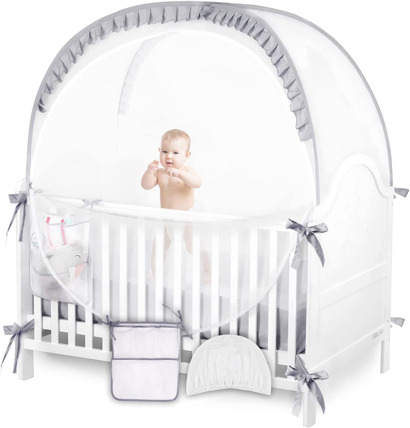 ZXPLO Baby Safety Pop Up Tent Mesh Cover, Crib Net to Keep Toddler in, with Stroller Mosquito Netting (Gray)