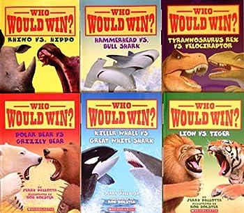 Who Would Win? Showdown  #2  6 Book Set  Rhino vs Hippo Polar Bear vs Grizzly Bear Lion vs Tiger Tyrannosaurus Rex vs Velociraptor Killer Whale vs Great White Shark Hammerhead Shark vs Bull Shark with Temporary Tattoos!