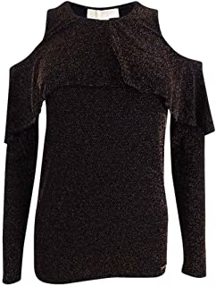 Michael Kors Women's Petite Metallic-Knit Cold-Shoulder Top