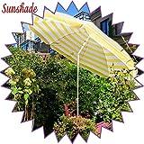 Vicareer Gartenschirm Terrassenschirm Kippschirm Sonnenschirm,1,9 M Gelb + Weiß Gestreifter Strandschirm,Wasserabweisend Rund Kurbelschirm Im Freien,Sonnenschutz UV 50+
