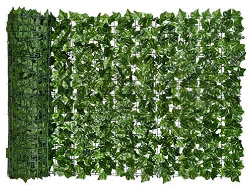 HUHUO Seto de Plantas Artificiales, Hiedra Artificial, Valla de privacidad, Pantalla, Valla de seto Artificial y decoración de Hojas de Vid Artificial