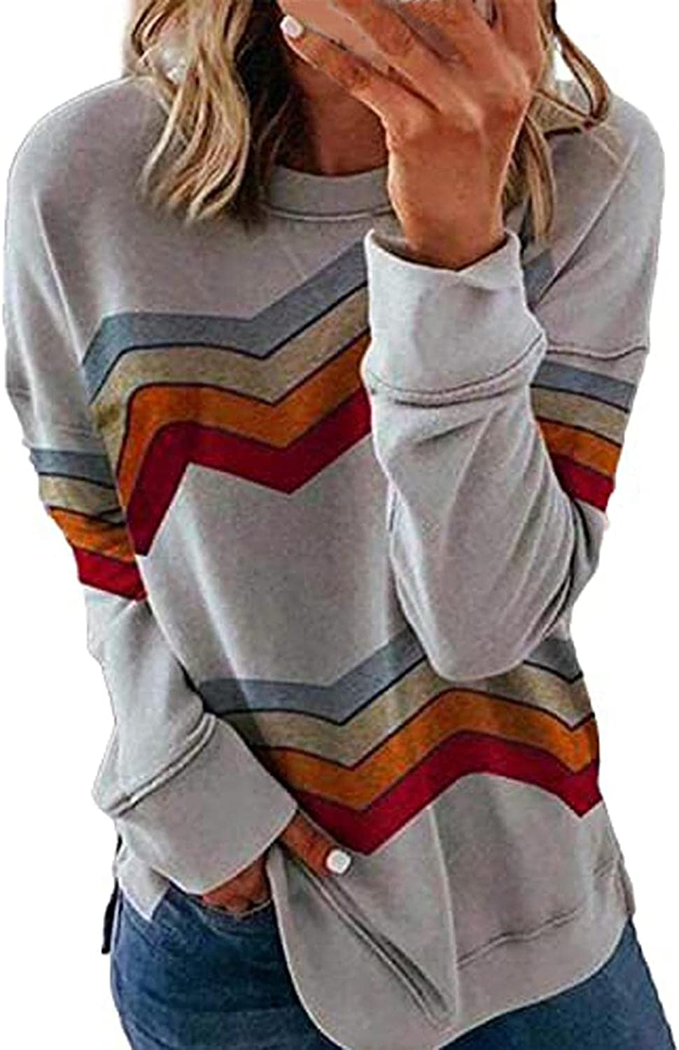 AODONG Women Sweatshirt Pullover, Womens Striped Printed Long Sleeve Crewneck Comfy Loose Soft Casual T Shirts Pullover