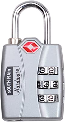 South Main Hardware 810111 Instant Search Alert TSA Accepted (1-Pack), Grey Combination Luggage Lock