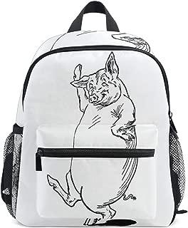 Dancing Pig Black School Backpack for Boys Kids Preschool School Bag Toddler Bookbag