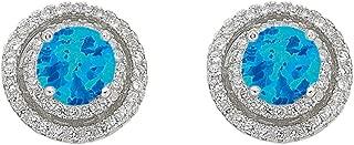 Bevilles December Birthstone Sterling Silver Synthetic Blue Opal & Cubic Zirconia Halo Earrings Stud