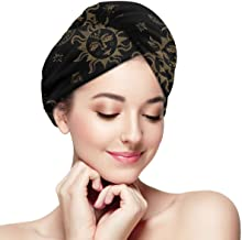 Golden Moon Sun shower Cap For Women - Strong water absorption, Reusable Microfiber Hair Towel Hair Fast Drying Hat Hair D...
