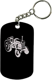 Personalized Engraved Custom Old Tractor 2-inch Colored Anodized Aluminum Customizable Keychain Dog Tag, Black