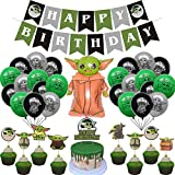 Baby Yoda Party supplies Set The Mandalorian Theme Birthday Party decorations Supplies for Kids Teens with Happy Birthday Banner Garland, Cake Topper, Cupcake Toppers, Balloons for Party Decorations