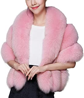 Women Luxury Faux Fur Coat Jackets Wrap Cape Shawl for Wedding Party