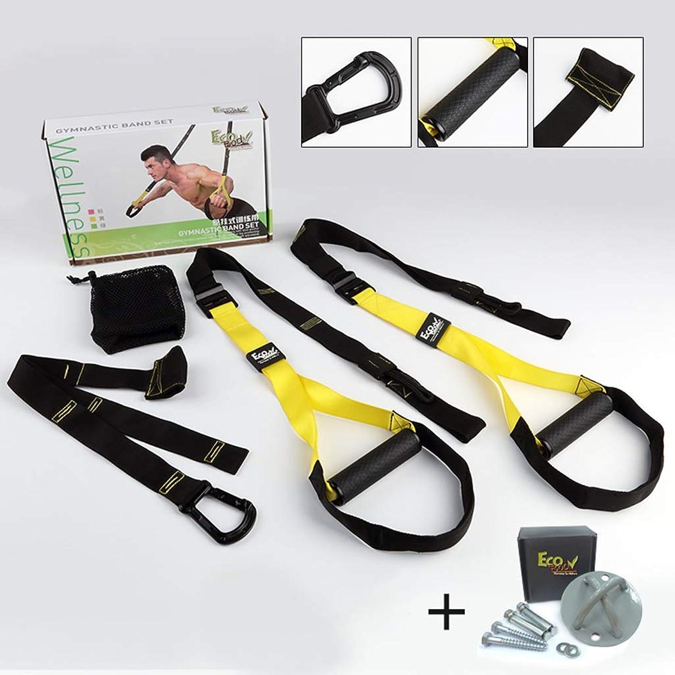 喉頭曲原子プルロープ男性の胸の抵抗運動家スクワットフィットネス機器と吊り訓練 (色 : Fitness package+fixed disk)