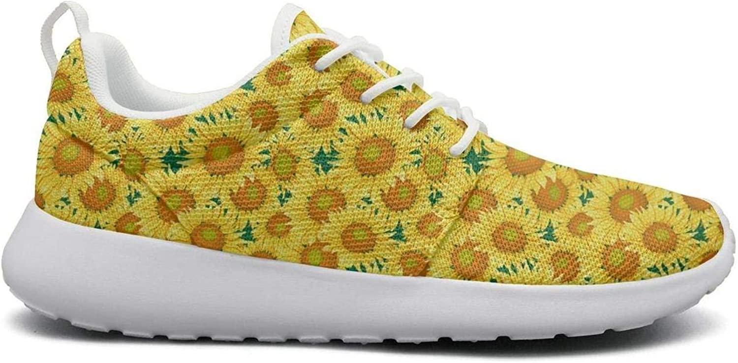 Tasbon for Women Ultra Lightweight Breathable Mesh Athleisure Sneakers Sunflower golden Yellow Walking shoes