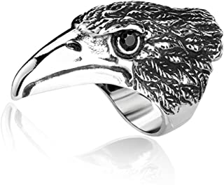 Men's Vintage Gothic Stainless Steel Rings Eagle Head Stone Eyes Biker Rings Hip Hop Jewelry Size 7-13