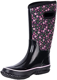 Women's Floral Wide-Calf Neoprene Insulated Rubber Rain...