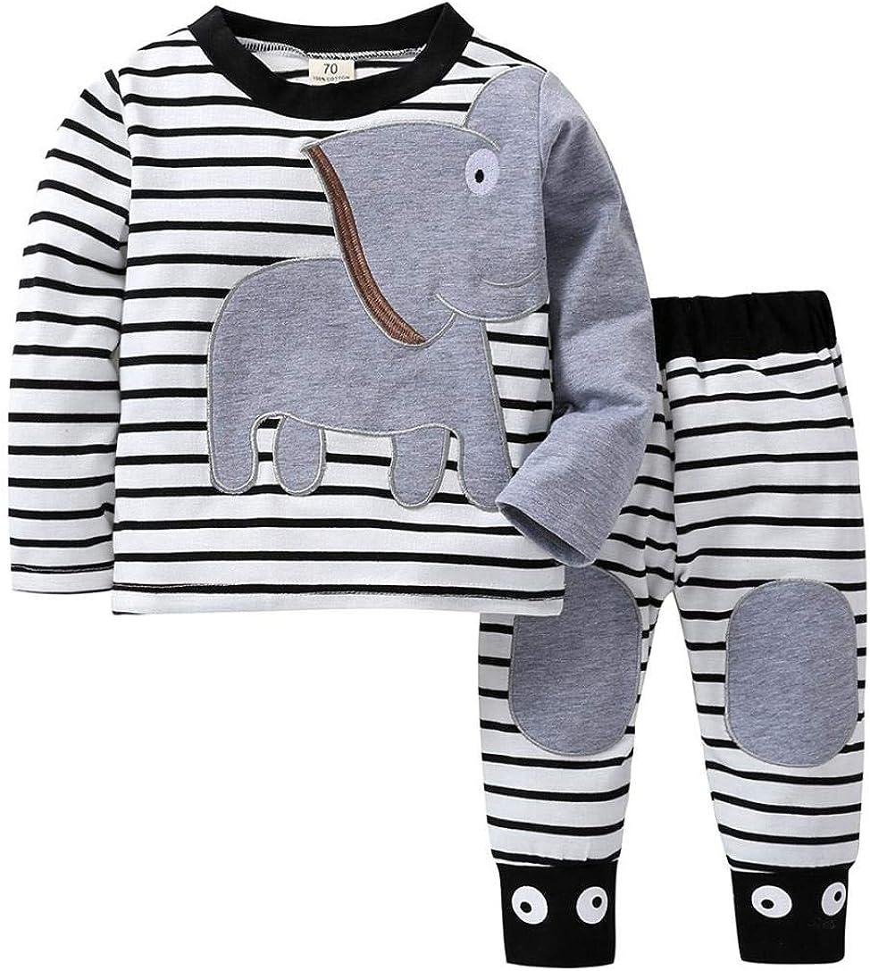 K-youth Ropa Bebé Recién Nacido, Ropa Bebe Niño Camisetas de Manga Larga Tops de Elefante y Rayas Pantalones Conjuntos Otoño/Invierno 0-24 Meses