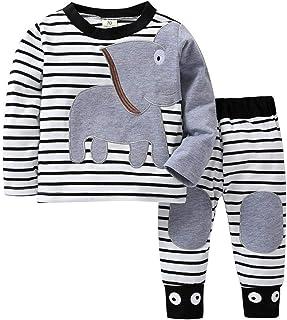 Ropa Bebé Recién Nacido, Ropa Bebe Niño Camisetas de Manga Larga Tops de Elefante y Rayas Pantalones Conjuntos Otoño/Invierno 0-24 Meses