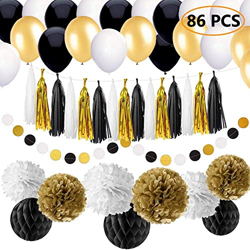 SIMPZIA 86 Pcs Black And Gold Party Decorations Kit Birthday Supplies For Adults 25th
