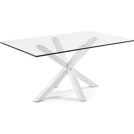 LF - Table de salle à manger Arya 160x90 plateau verre pied blanc