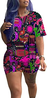 Women 2 Piece Sports Outfits Shorts Set - Sexy Print Tracksuit Shirt Bodycon Pants Joggers Sportswear Clubwear Plus Size
