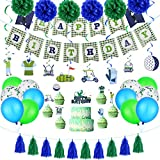 Golf Birthday Party Supplies Decoration Kits Include Golf Theme Banner Golf Themed Cake Toppers Tassel Garland Confetti Balloons Latex Balloons and Golf Hanging Swirls Paper Pom Poms For Golf Party