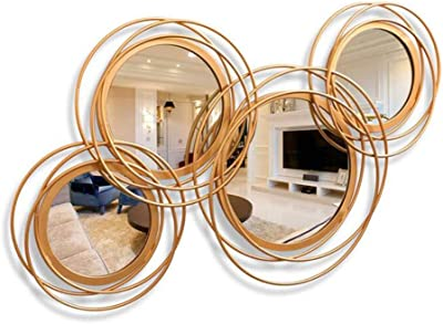 Bathroom Mirrors Hanging on The Wall Mirror Clothing Store Fitting Mirror Bathroom Bathroom Mirror Entrance Door Decorative Mirror Bedroom Vanity Mirror Fashion Wall Mirror Color : Gold, Size : 70CM/27.6INCH