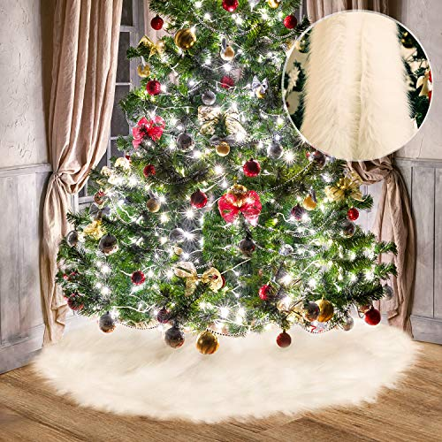 Tatuo White Faux Fur Christmas Tree Skirt Snow Tree Skirts for Christmas Holiday Decorations (80 cm)