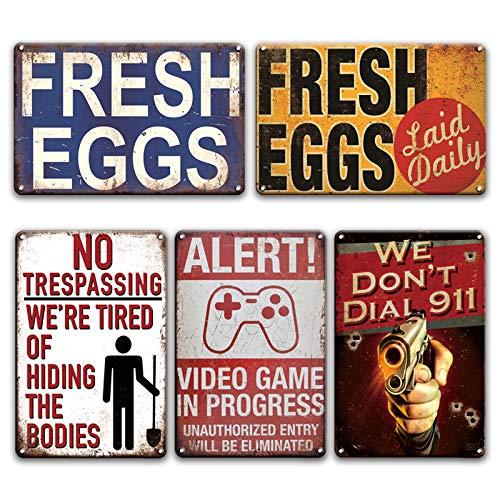 Cartel de chapa de metal de huevo retro Área 51 advierte contra el uso no autorizado de pintura de estaño Restaurante Casa de campo familiar Decoración de pared Placa de metal 20x30cm 5 piezas