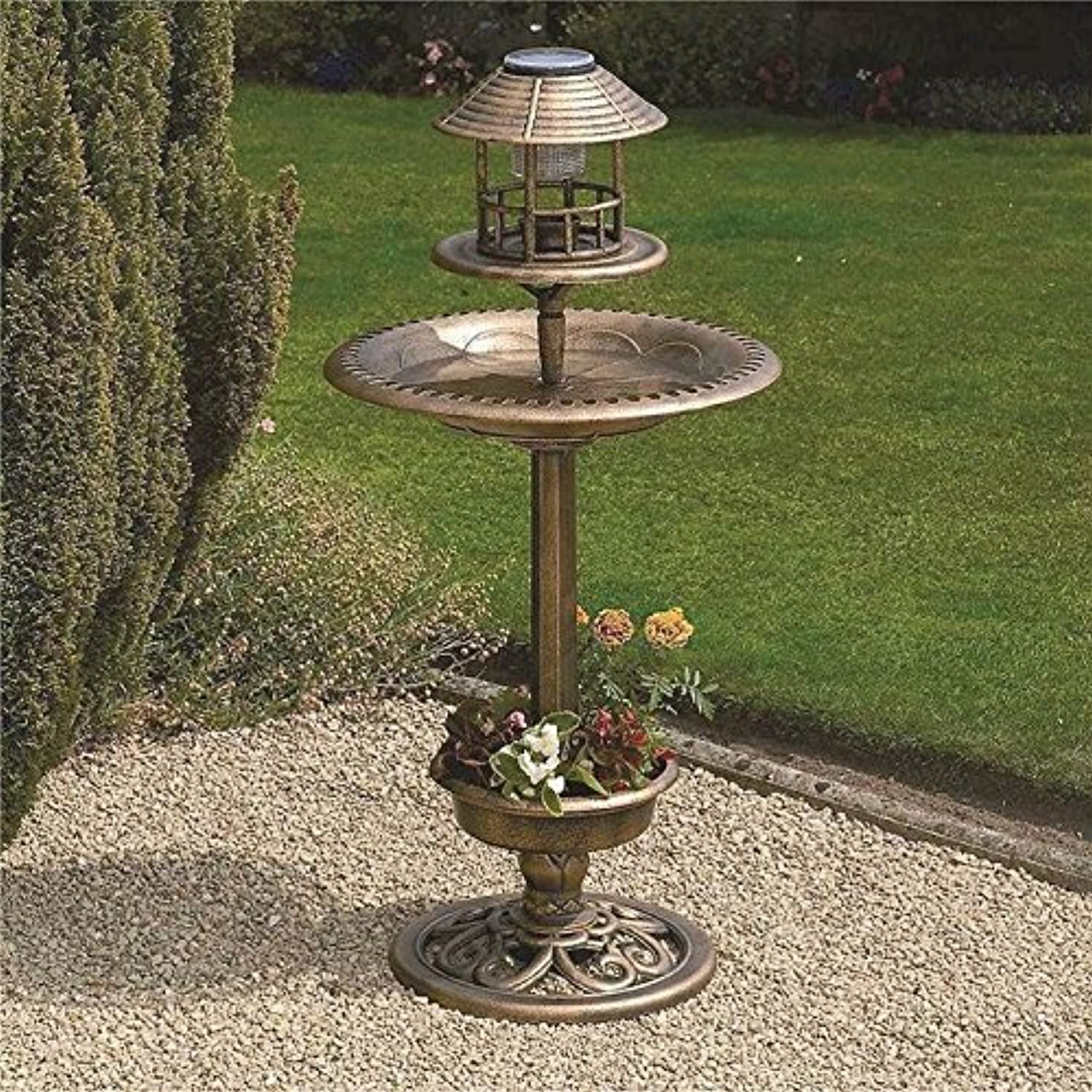 3 X New Bronze Outdoor Bird Feeder Bath Solar Light Weather Resistant Garden Hotel
