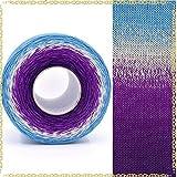 AUBERSIT 250g / 1000M hilo de algodón mercerizado, hilo teñido de segmento arcoíris, suéter de punto DIY de 6 hebras sombrero capa hilo de pastel, 138