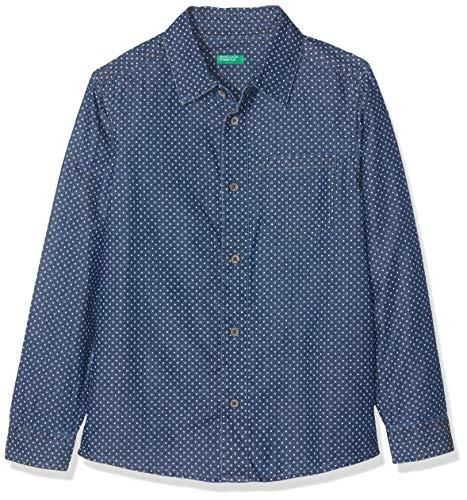 United Colors of Benetton Jungen Indigo B3 Freizeithemd, Blau (Blu Denim All/Over 63l), 170 (Herstellergröße: XX)