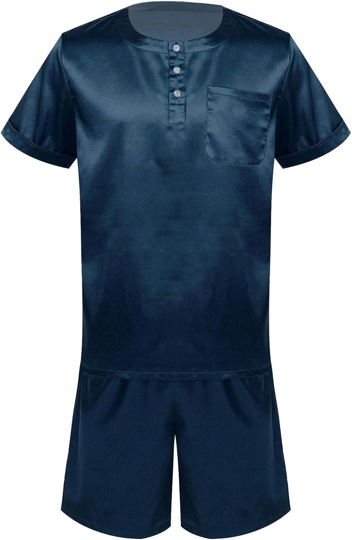 JEATHA Men's Satin Pajamas Set Short Sleeve Pjs Sleepwear Lounge Set Shirt and Shorts Nightwear