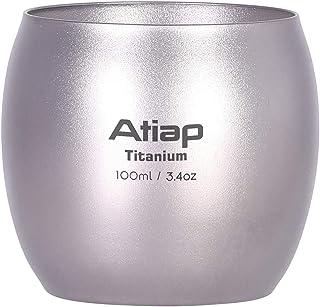 ATiAP Titanium Camping Mug Pot Cup, 100ml Titanium Double-Wall Water Tea Cup Wine Coffee Drinking Mug for Outdoor Camping ...