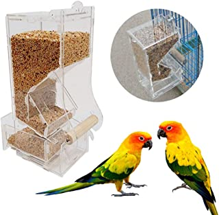 kathson No Mess Bird Feeder,Parrot Automatic Foraging Systems with Bird Perches Single Slot Food Feeding Station Cage Accessories Seed Container for Canary,Parakeet,Cockatiel,Budgie