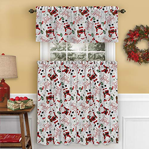 """Elrene Home Fashions Santa Christmas Wishes Holiday Kitchen/Café and Bath Tiers and Valance, 3 Piece Set, 30""""x36"""" 60""""x15"""", Multi"""