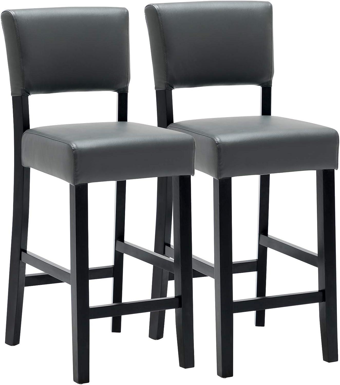WOLTU Barhocker BH155gr-2 2er Set Bistrohocker Tresenhocker Barstuhl mit Lehne, Beine aus Massivholz, Antirutschgummi, dick gepolsterte Sitzflche aus Kunstleder, Grau