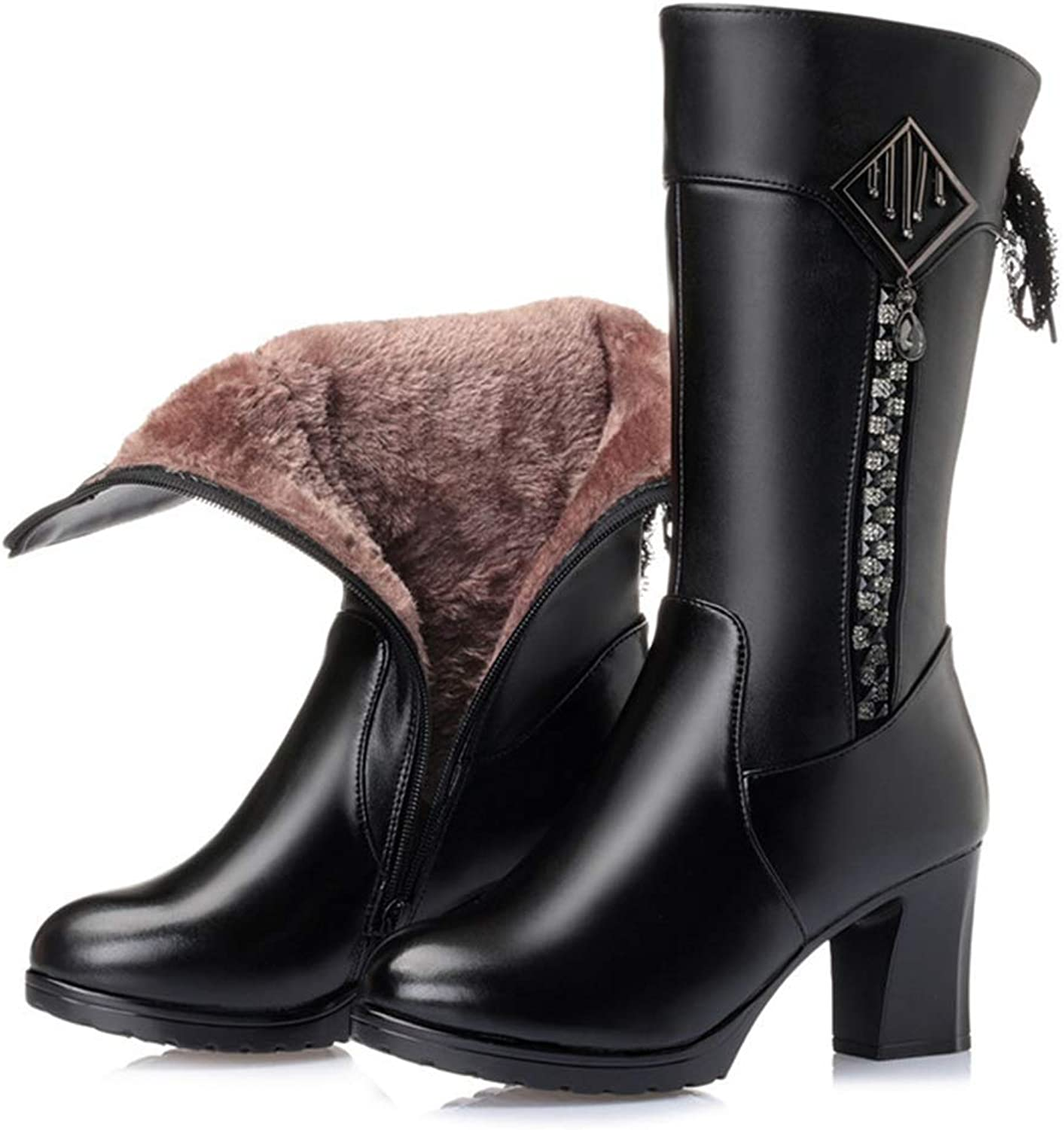 AVENBER Women Mid Calf Boots High Heel Thick Winter Warm Side Zipper Footwears Adult Rubber Lace Bow Decoration shoes