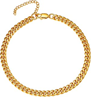 18K Gold Plated Stainless Steel Chain Anklets Summer Beach Jewelry for Men Women, 9''+2'' Adjustable