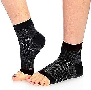 Qivange Compression Sock for Men & Women, Plantar Fasciitis Socks Compression Foot Sleeves Ankle Brace Support Foot Care,Black, L/XL