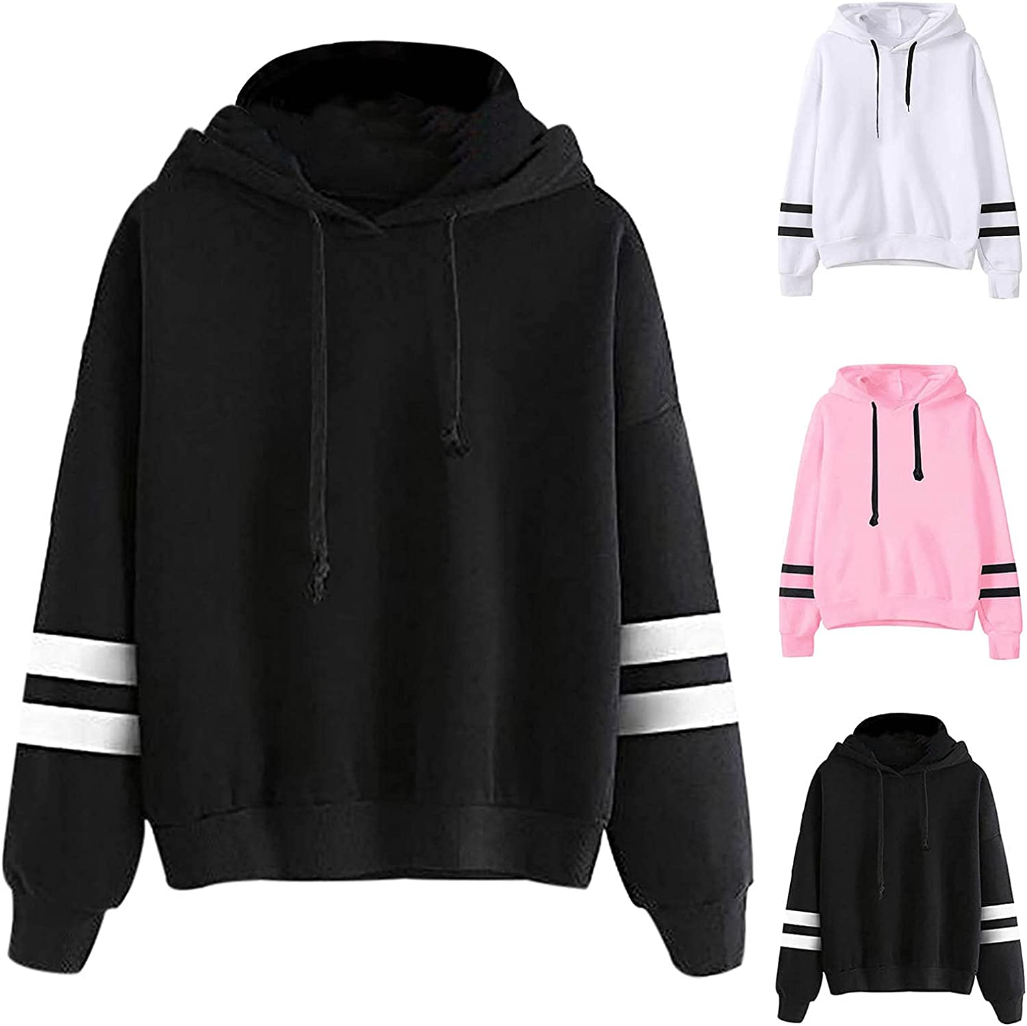 Womens Hoodies Pullover Long Sleeve Shirts Solid Color Pullover Drawstring Tops Fashion Loose Blouse