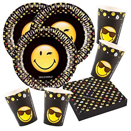 52-teiliges Party-Set Smiley Emoticons - Teller Becher Servietten für 16 Personen